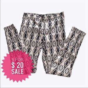 H&M geometric skinny pants with side zip Sz 6